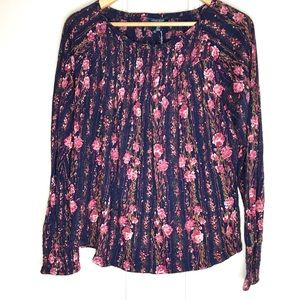 LUCKY Blouse Boho Floral Elastic Top Navy Rose M